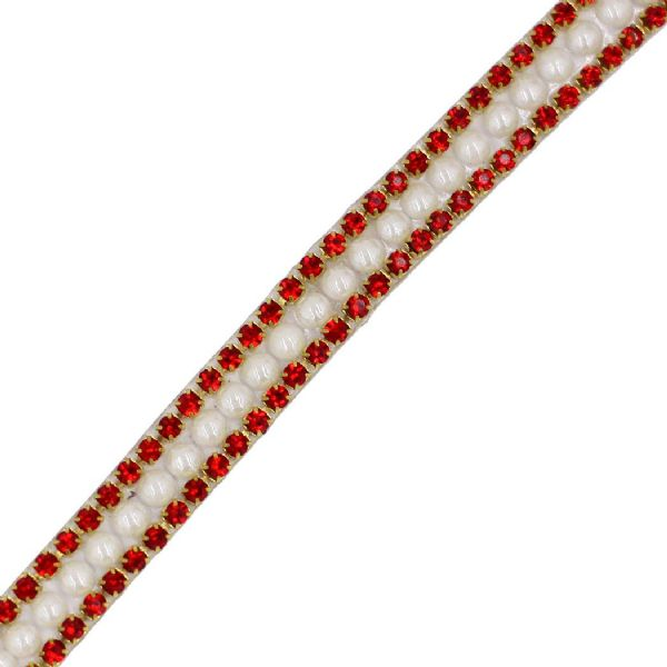 1 metre x 9 mm Pearl, Ruby red and gold